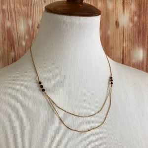 Avon Gold chain Ruby Bead Double Layer Necklace